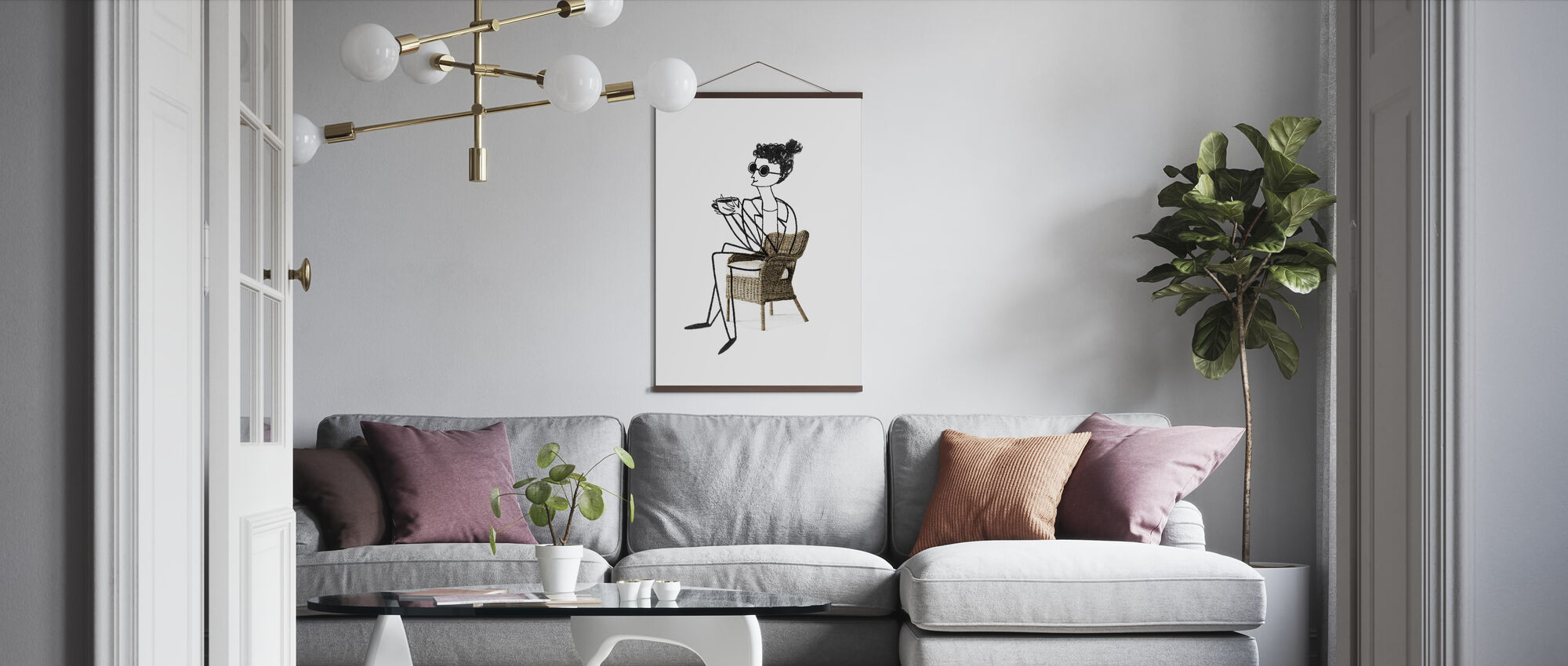 Woman Drinking Coffee - Poster - Living Room