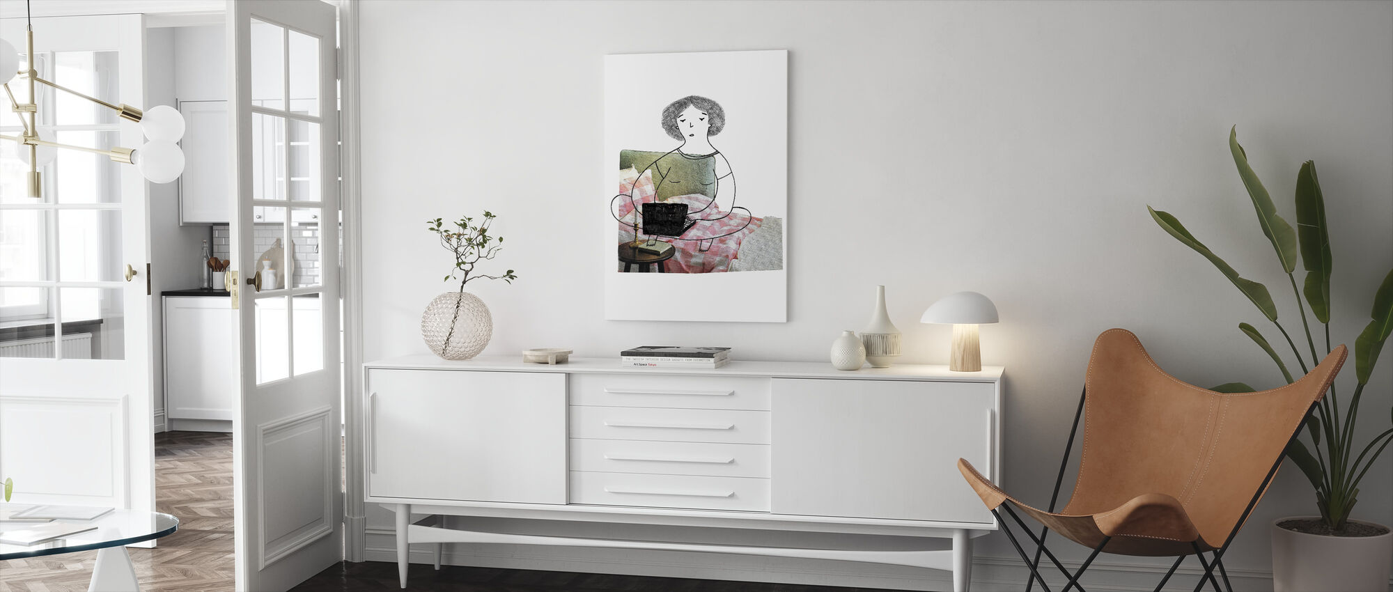 Woman Typing - Canvas print - Living Room
