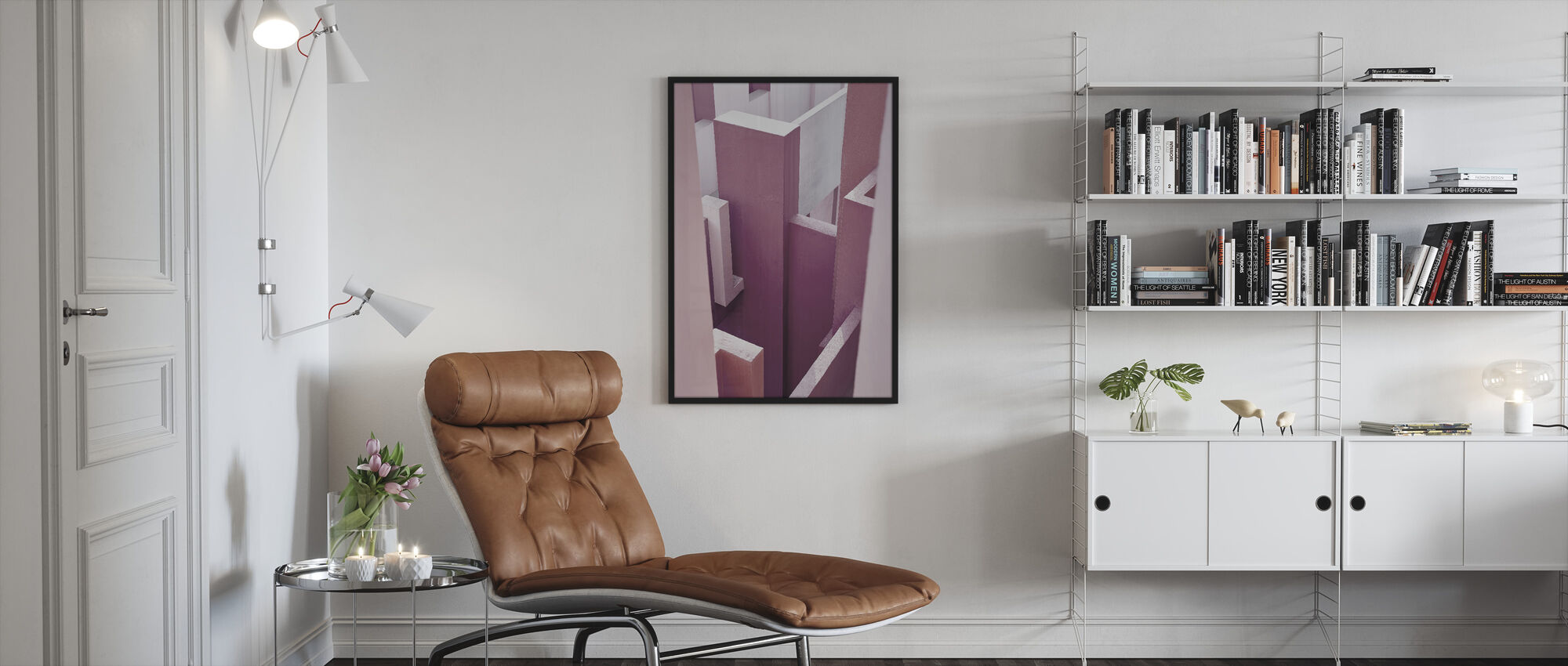 Red Wall - Framed print - Living Room