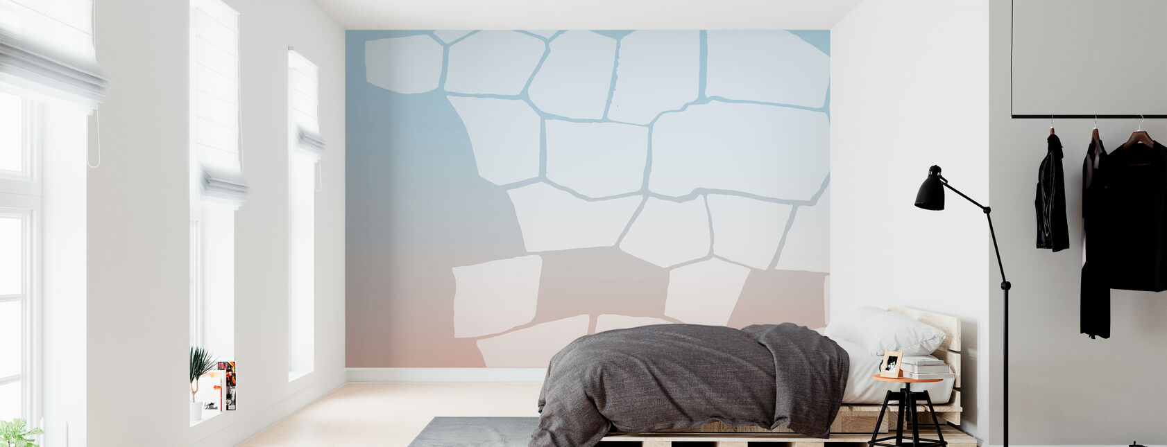 Inverted White Wall - Wallpaper - Bedroom