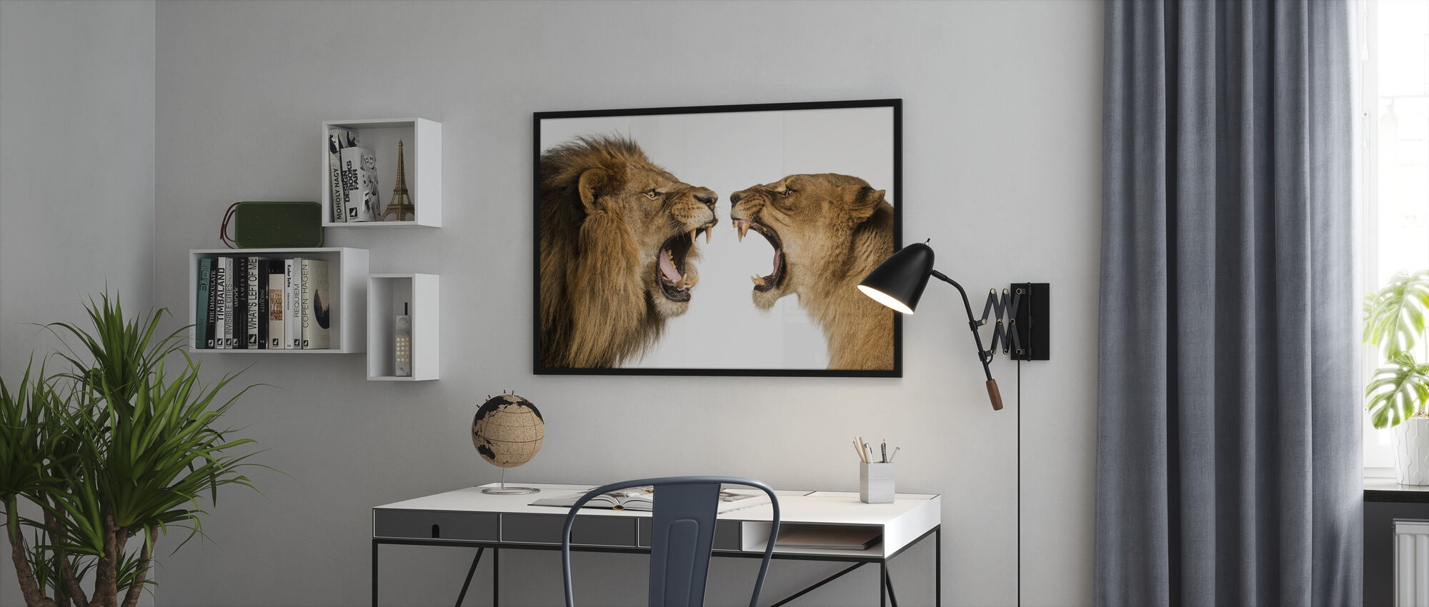 Roaring Lion and Lioness - Framed print - Office