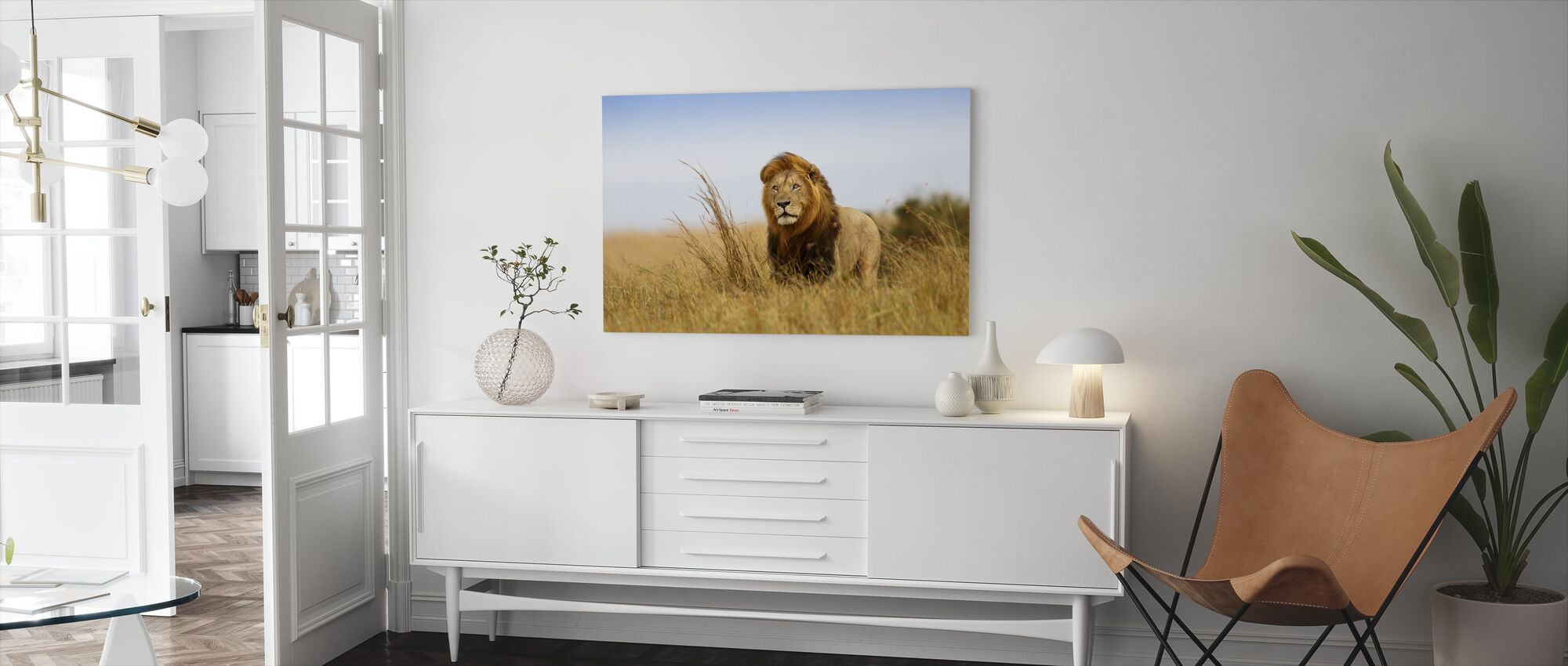 Lion in the Golden Grass - Canvas print - Living Room