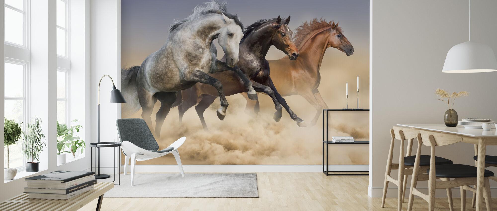 Three Horses Run - Wallpaper - Living Room