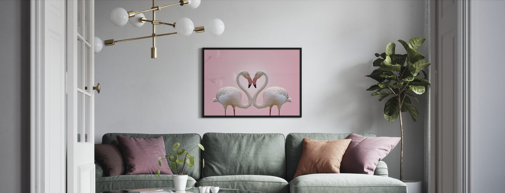 Couple Flamingo - Framed print - Living Room