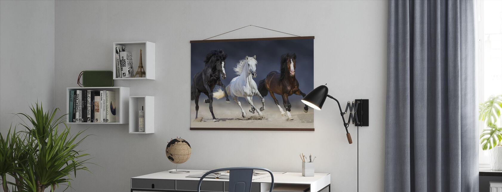 Tre hästar springa - Poster - Kontor