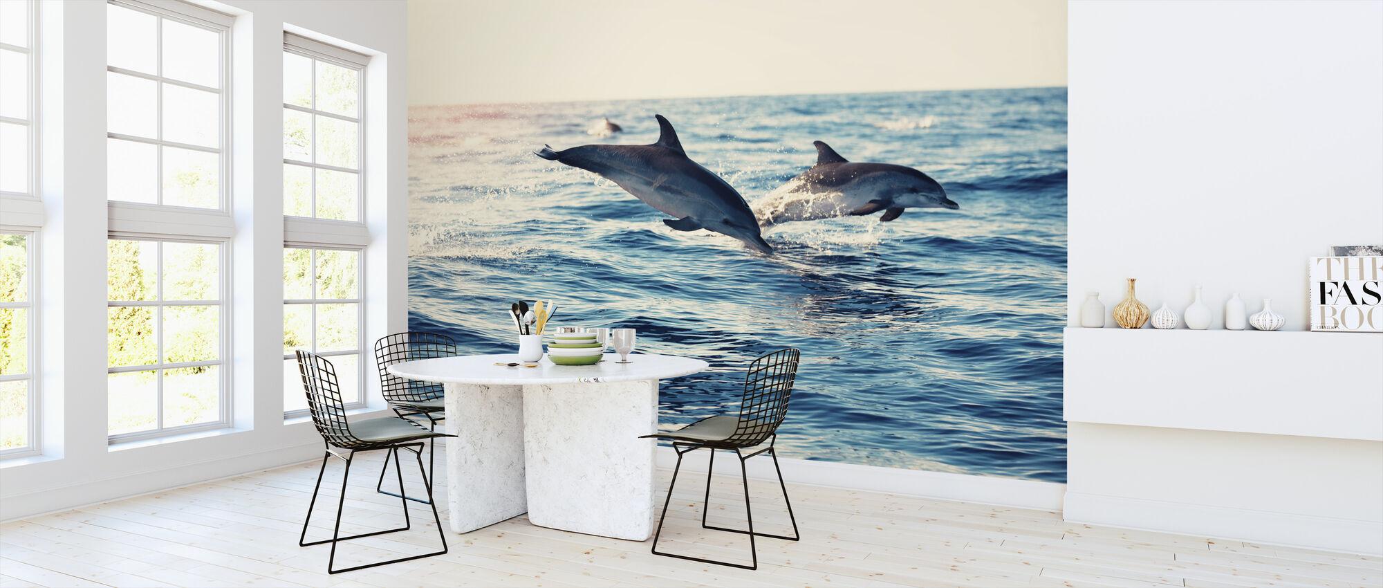Delfini che saltano dal mare - Carta da parati - Cucina