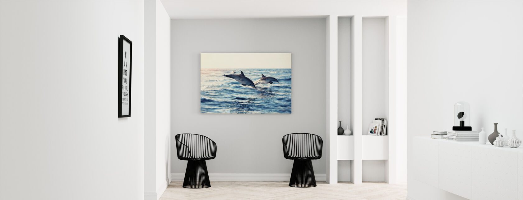 Dolphins Jumping from the Sea - Canvas print - Hallway