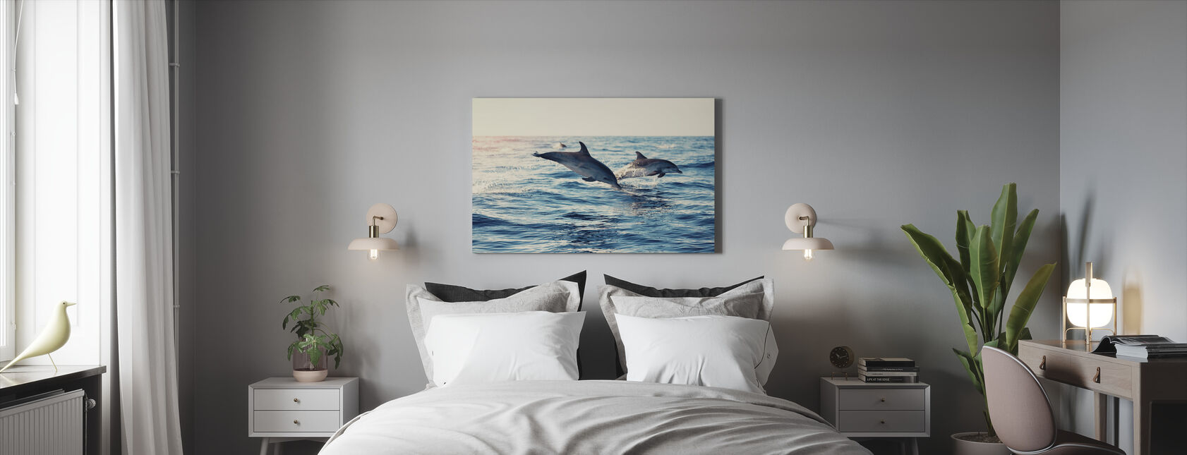 Dolphins Jumping from the Sea - Canvas print - Bedroom