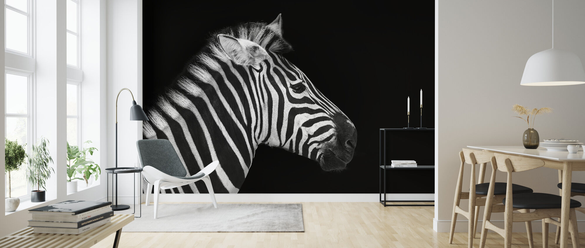 Zebra Portrait - Wallpaper - Living Room