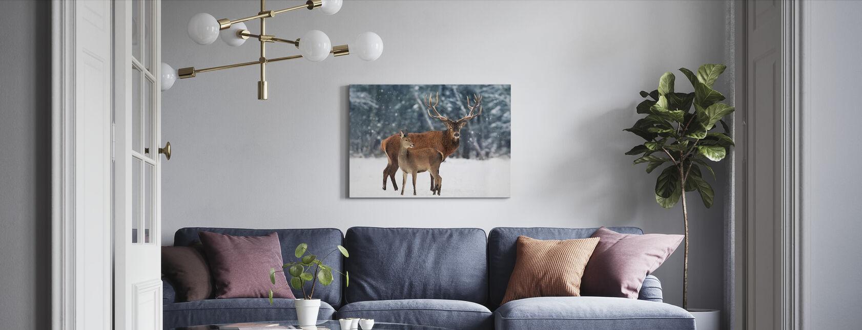Herten in de sneeuw - Canvas print - Woonkamer