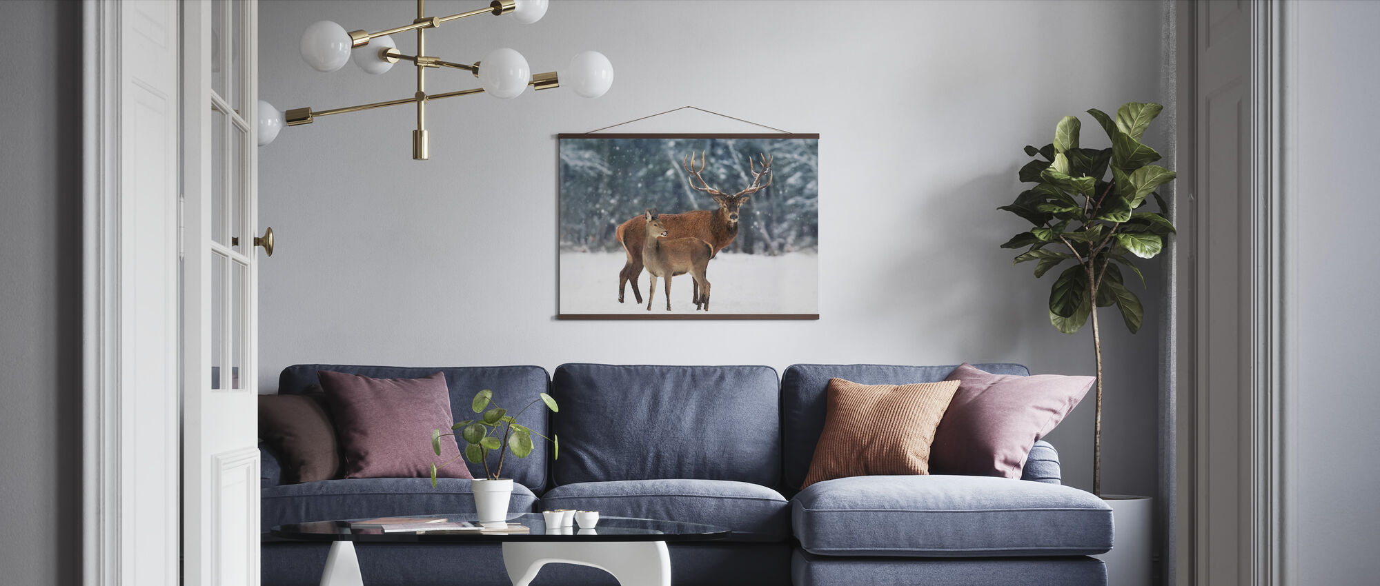 Deer in the Snow - Poster - Living Room
