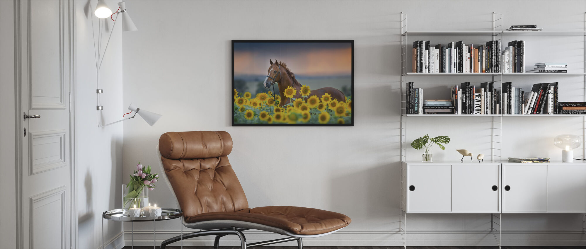 Red horse in Sunflowers Field - Framed print - Living Room
