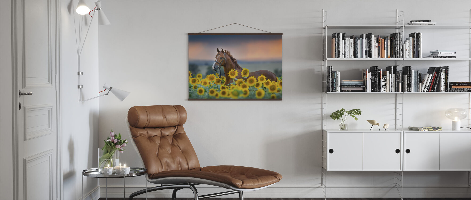 Red horse in Sunflowers Field - Poster - Living Room