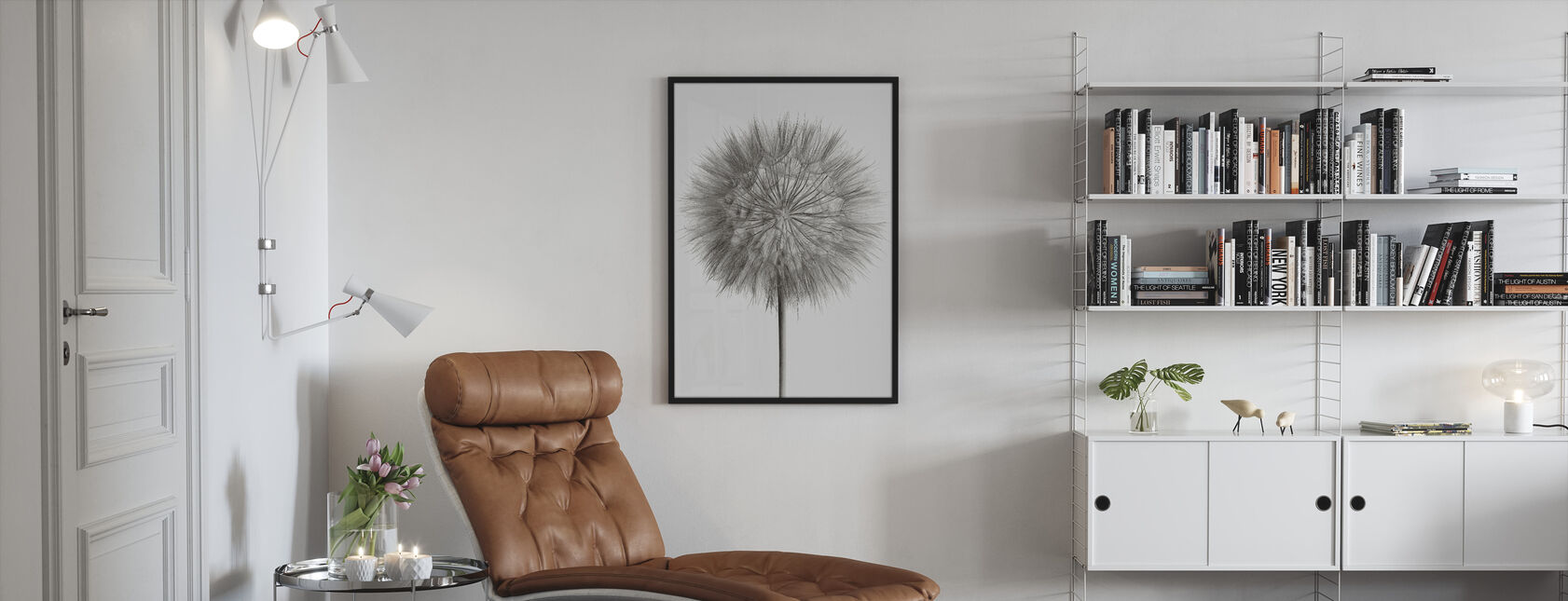Dandelion Fluff on White - Framed print - Living Room