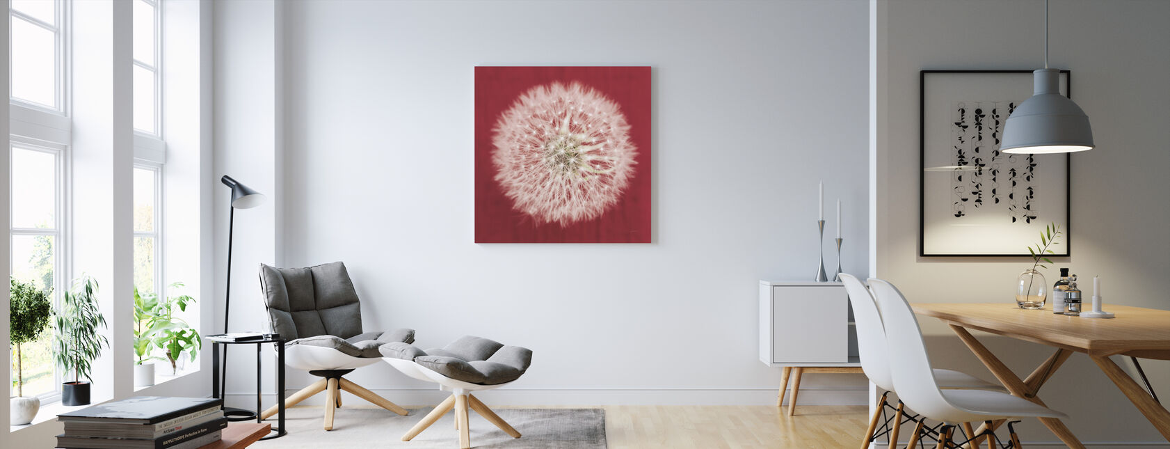 Dandelion on Red - Canvas print - Living Room
