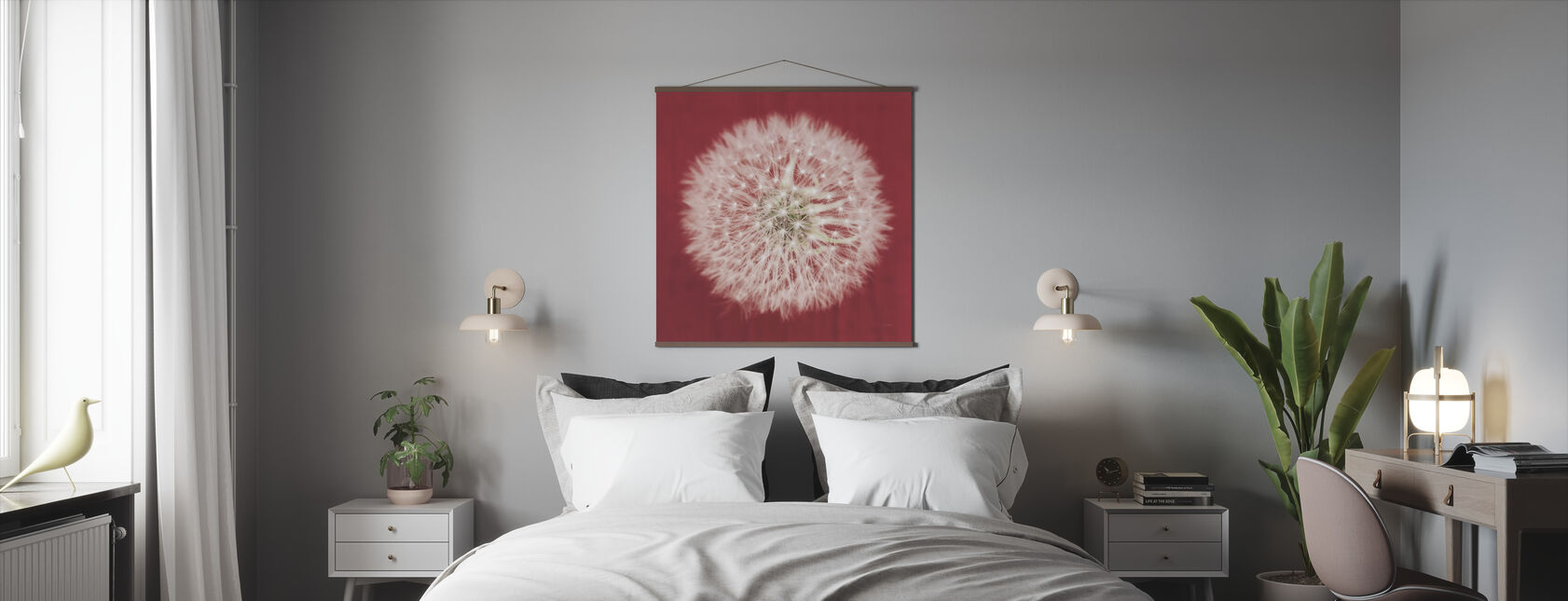 Dandelion on Red - Poster - Bedroom