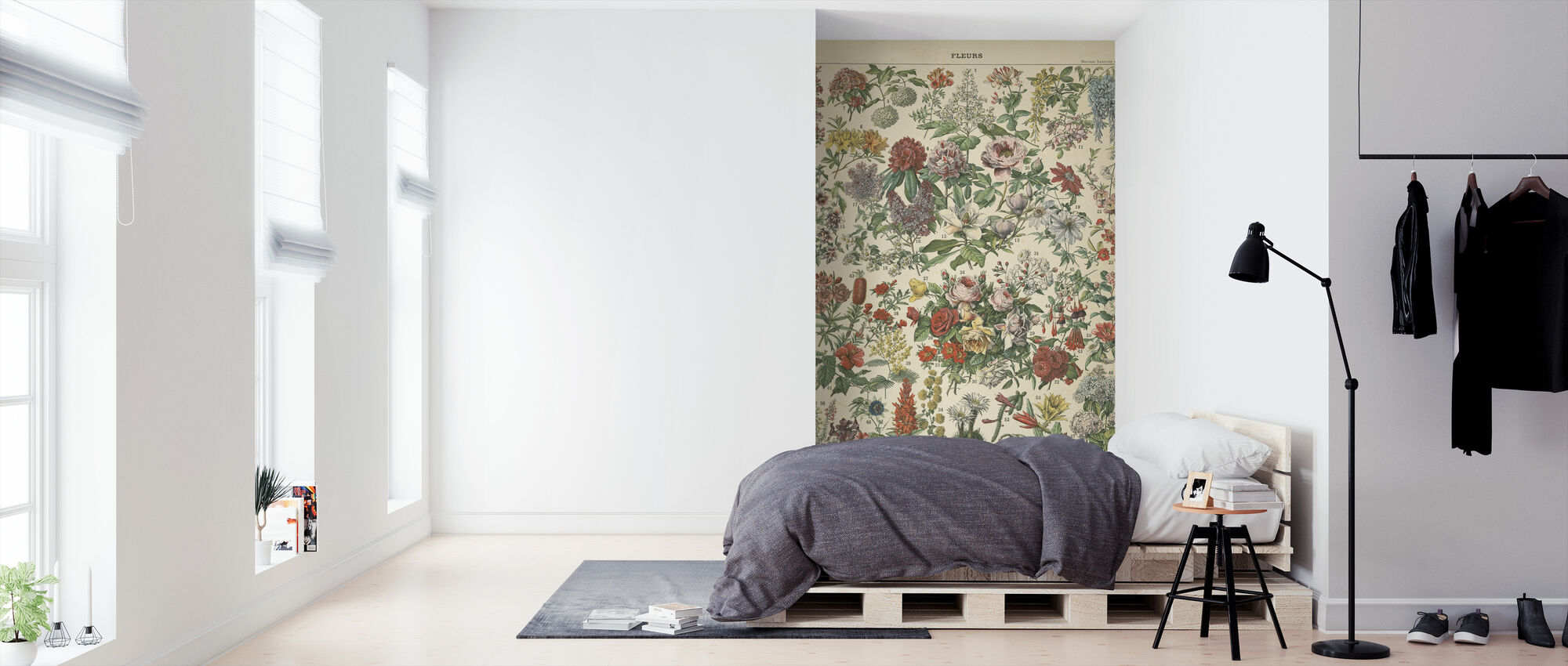 French Flower Chart - Wallpaper - Bedroom