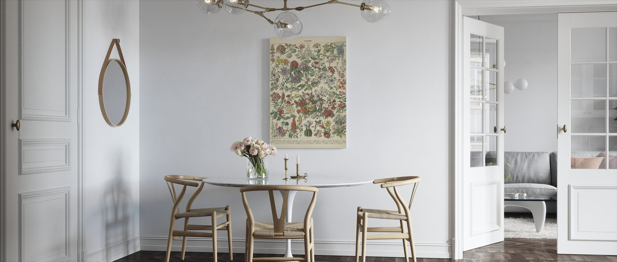 Fransk Blomst Chart - Billede på lærred - Køkken