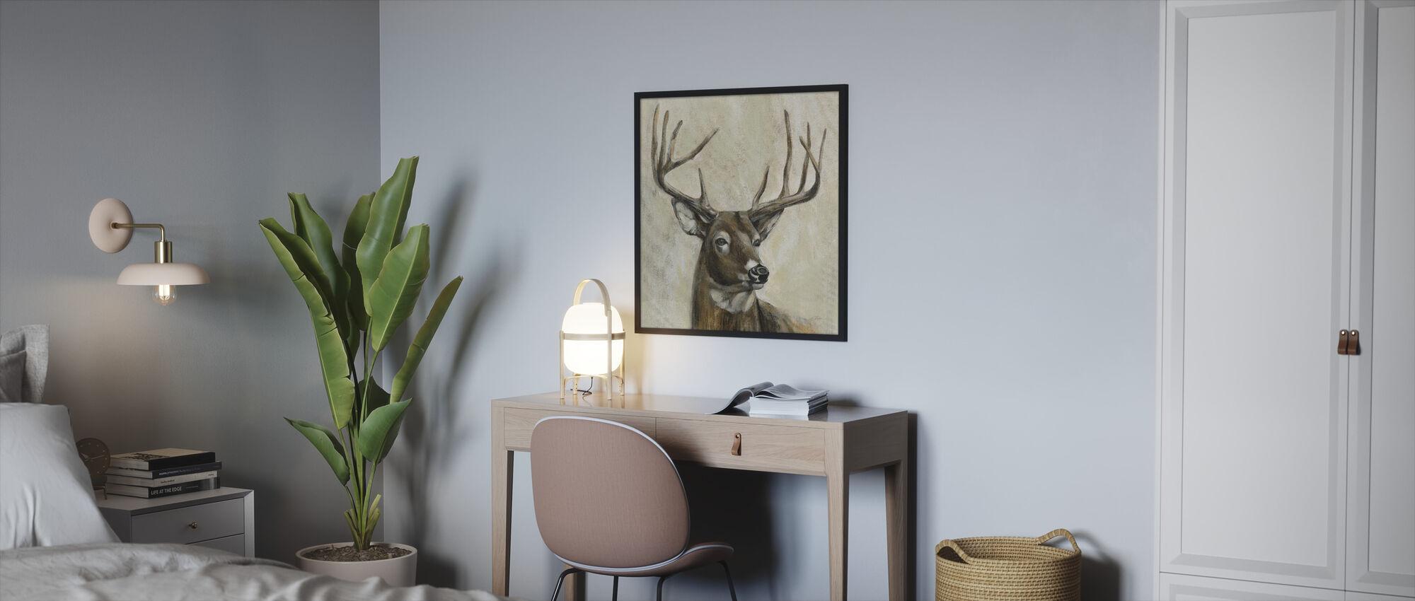 Bronze Deer - Framed print - Bedroom