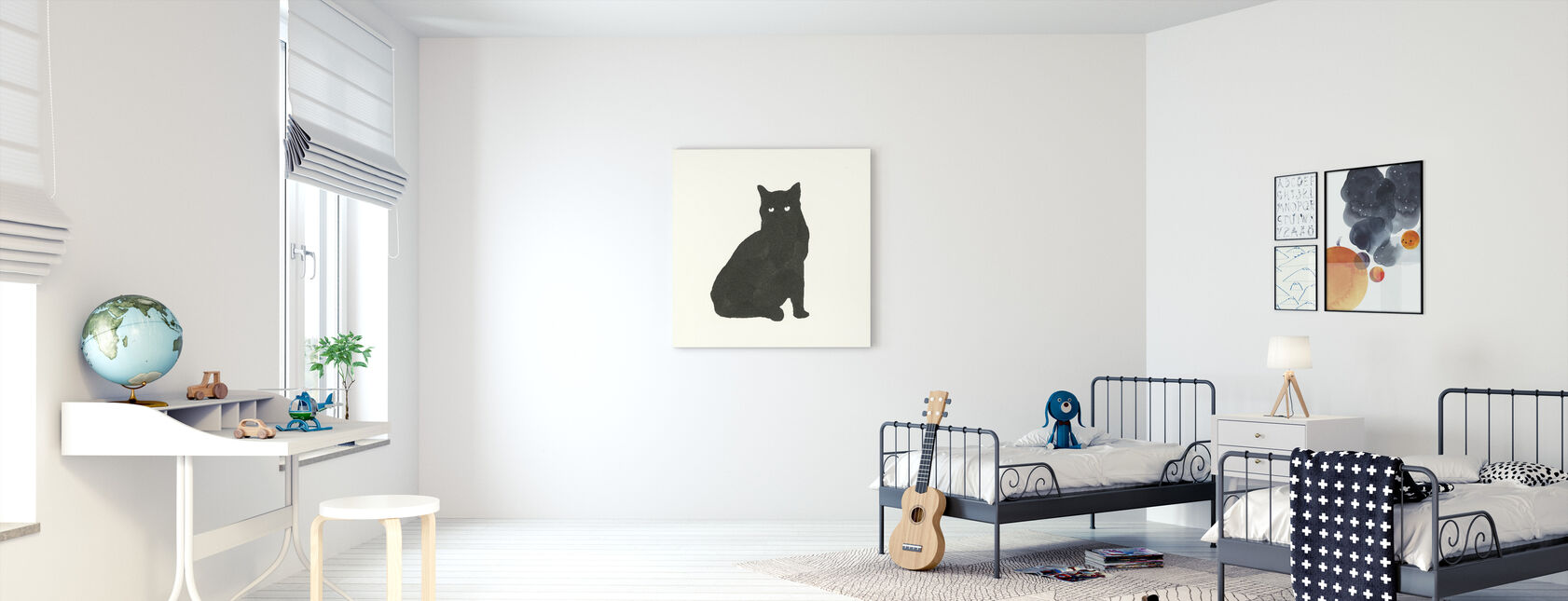 Svart katt - Canvastavla - Barnrum