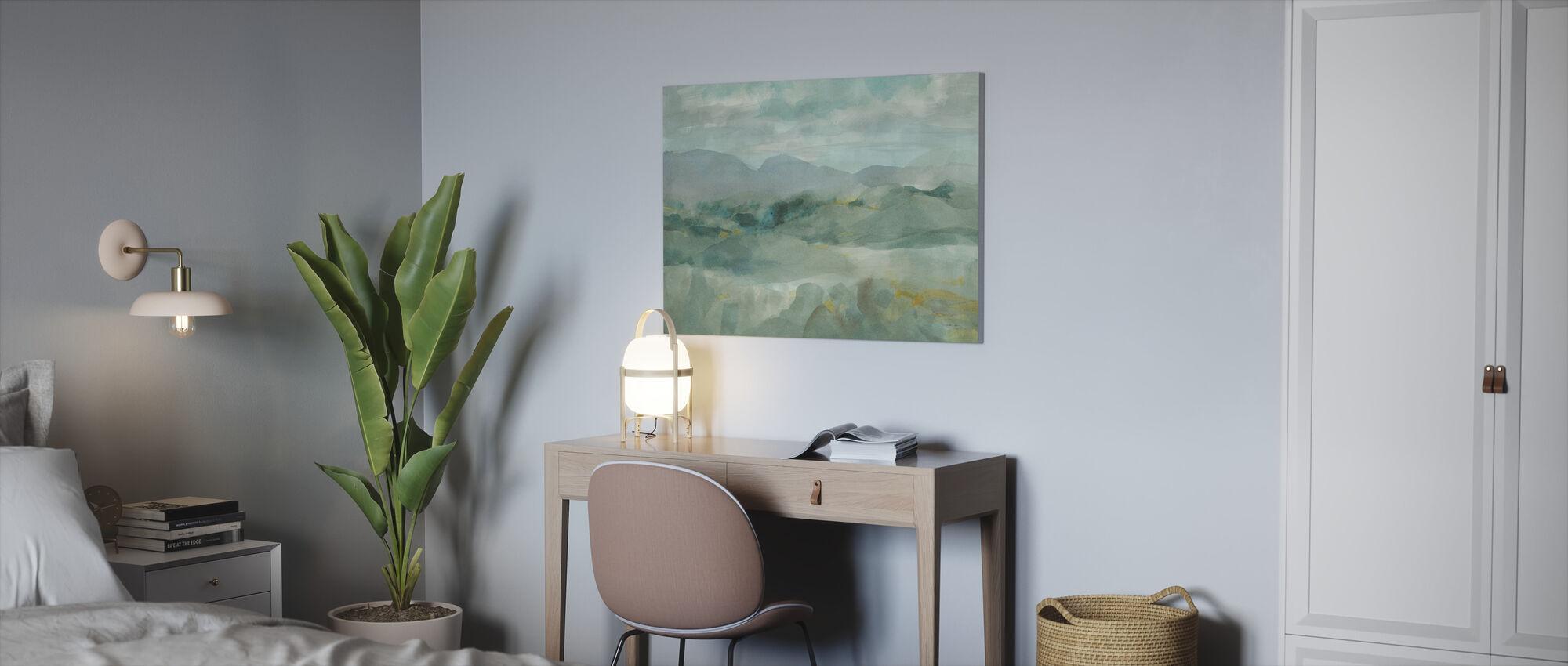 Groen Uitzicht op de bergen - Canvas print - Kantoor