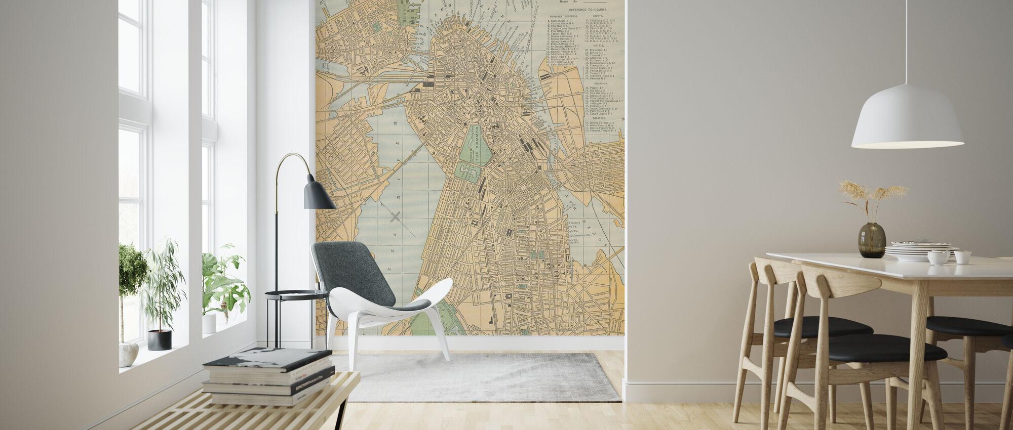 Boston Map - Wallpaper - Living Room
