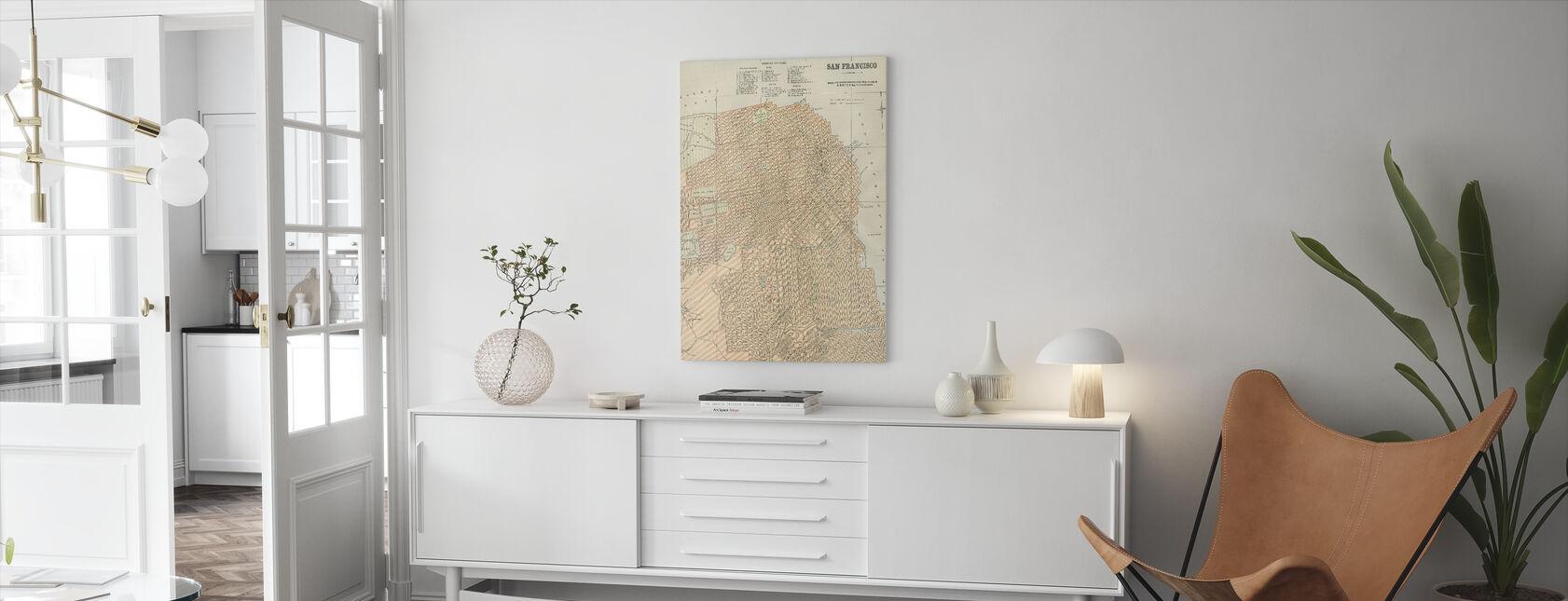 San Francisco Kort - Billede på lærred - Stue