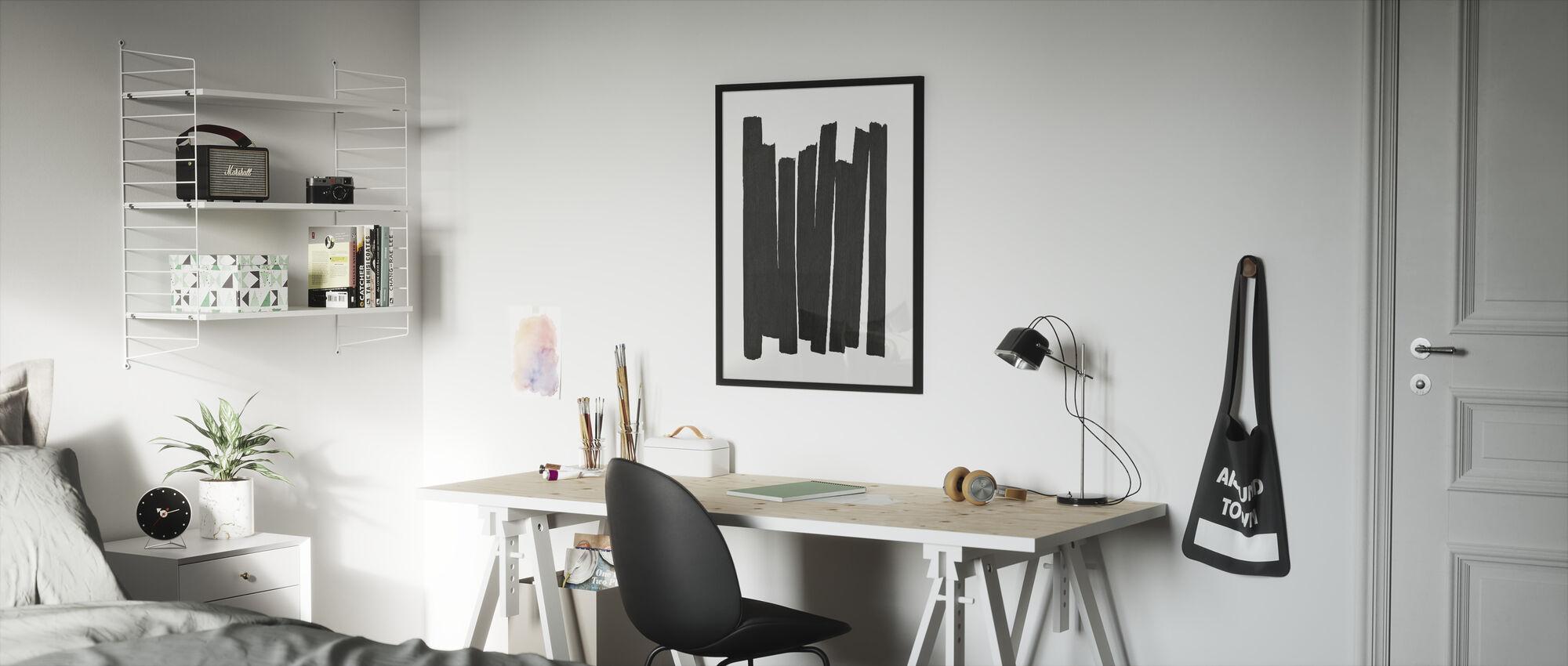 Svart penselstrøk II - Innrammet bilde - Barnerom