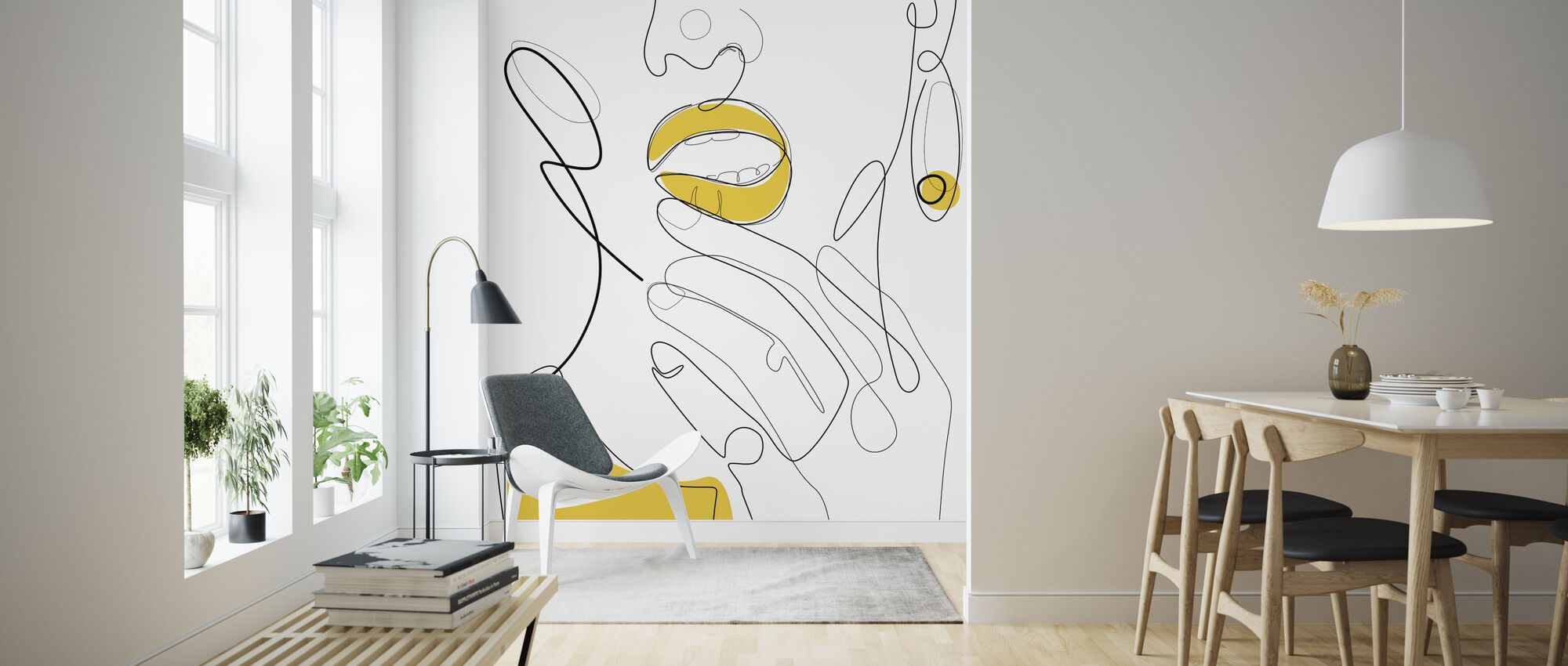 Bold Mustard Lip - Wallpaper - Living Room