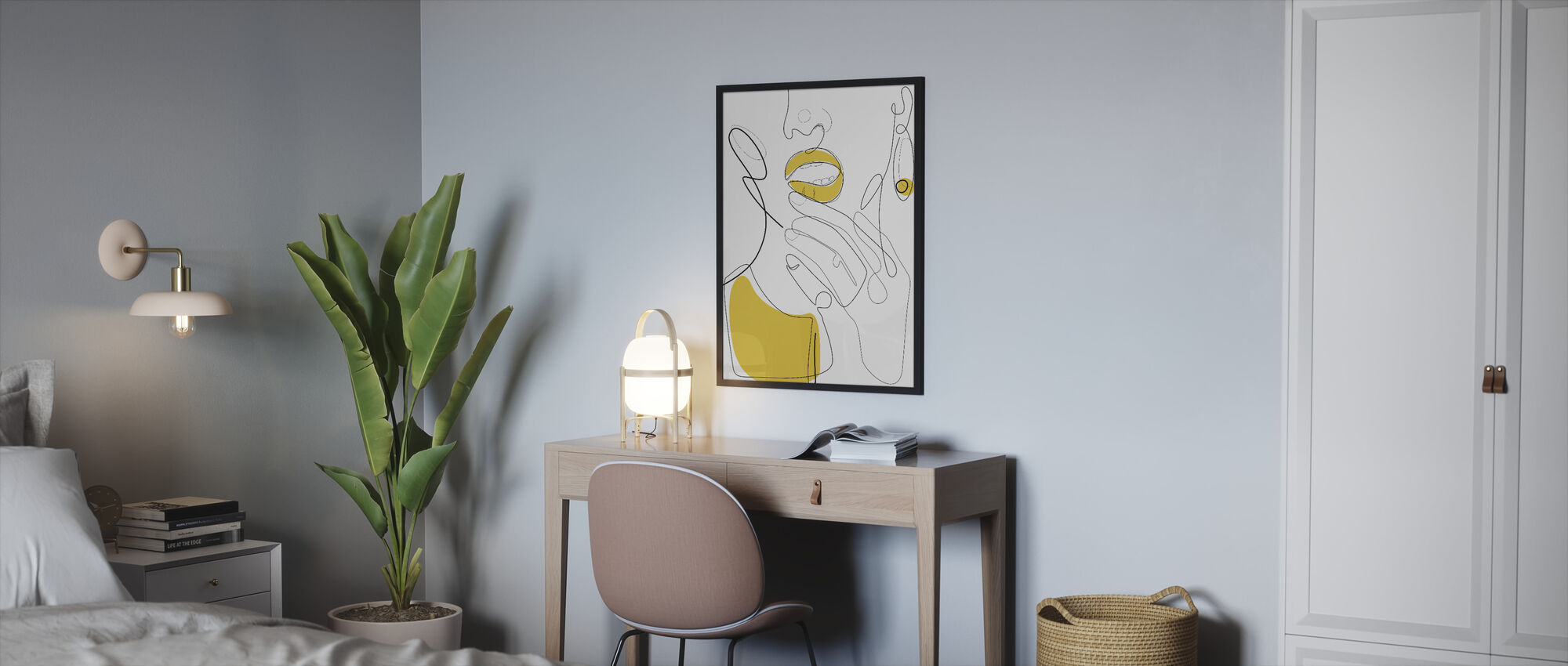 Bold Mustard Lip - Framed print - Bedroom
