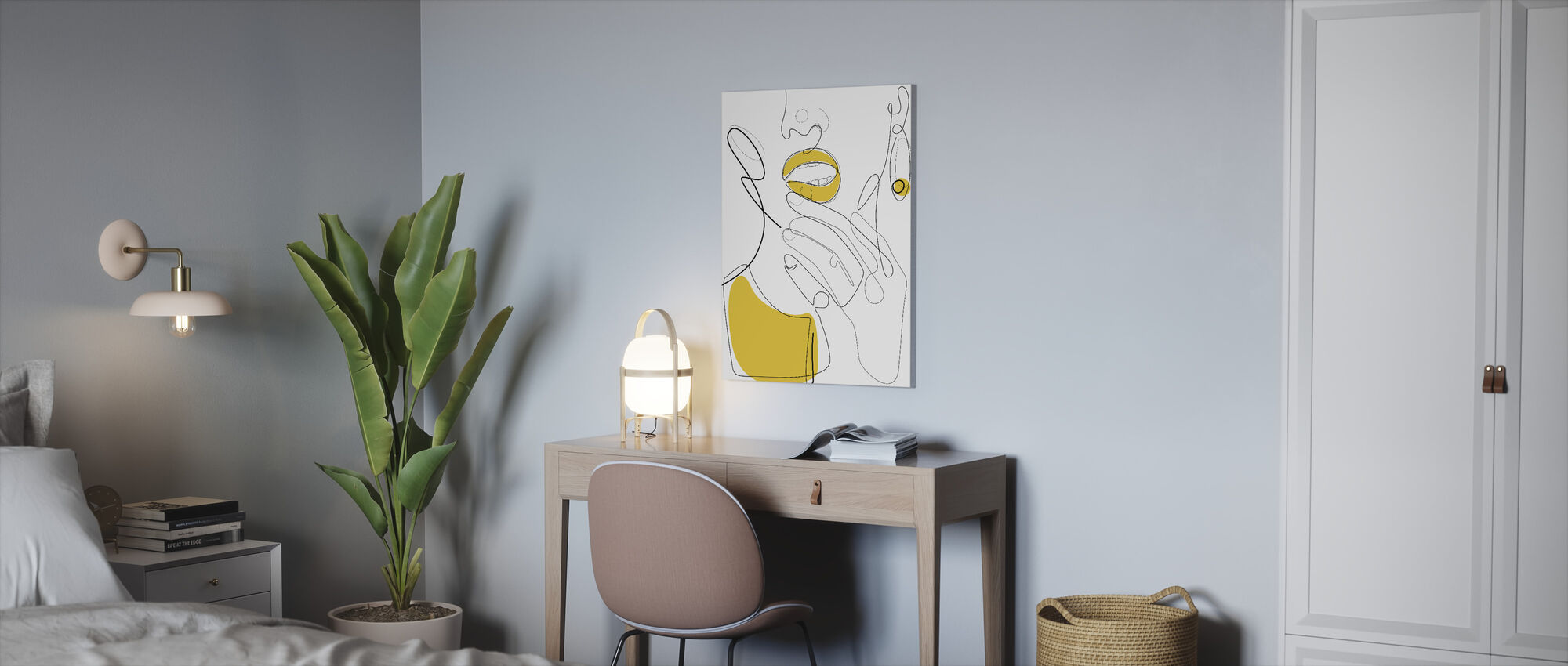 Bold Mustard Lip - Canvas print - Office
