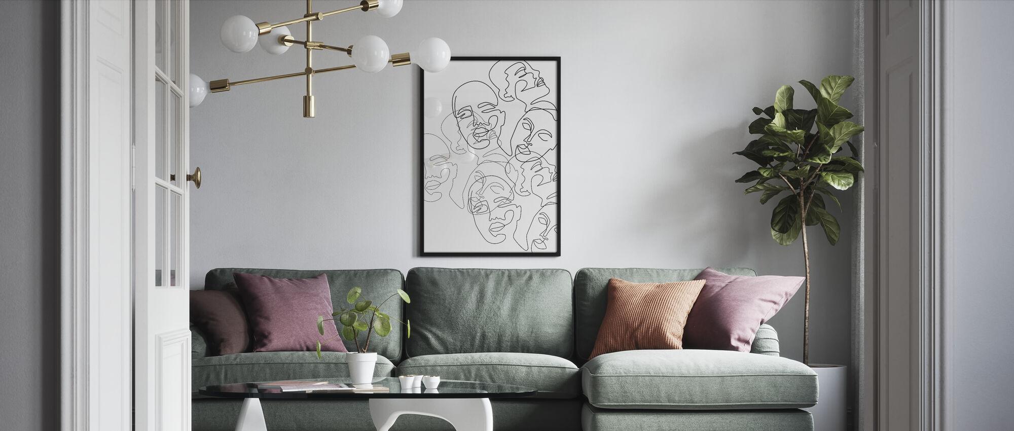 Lined Face Sketches - Framed print - Living Room