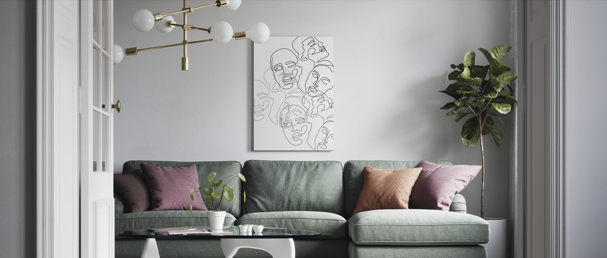 Lined Face Sketches - Canvas print - Living Room