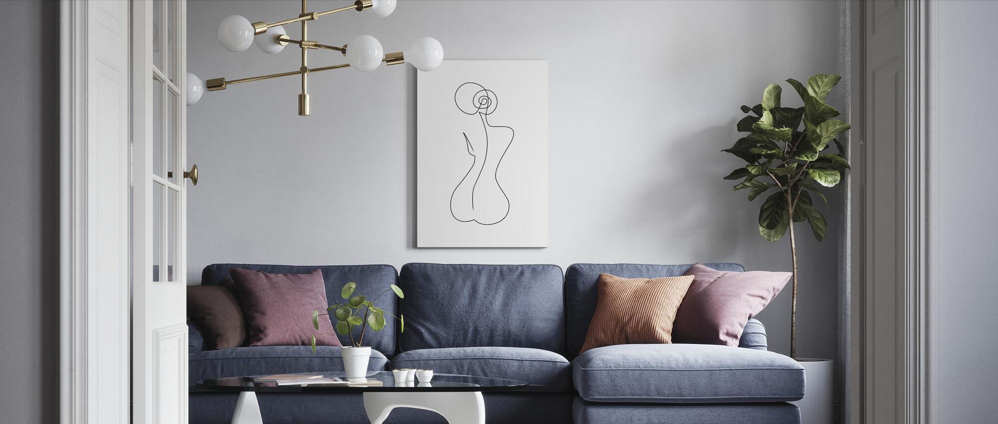 Single Back Line - Canvas print - Living Room
