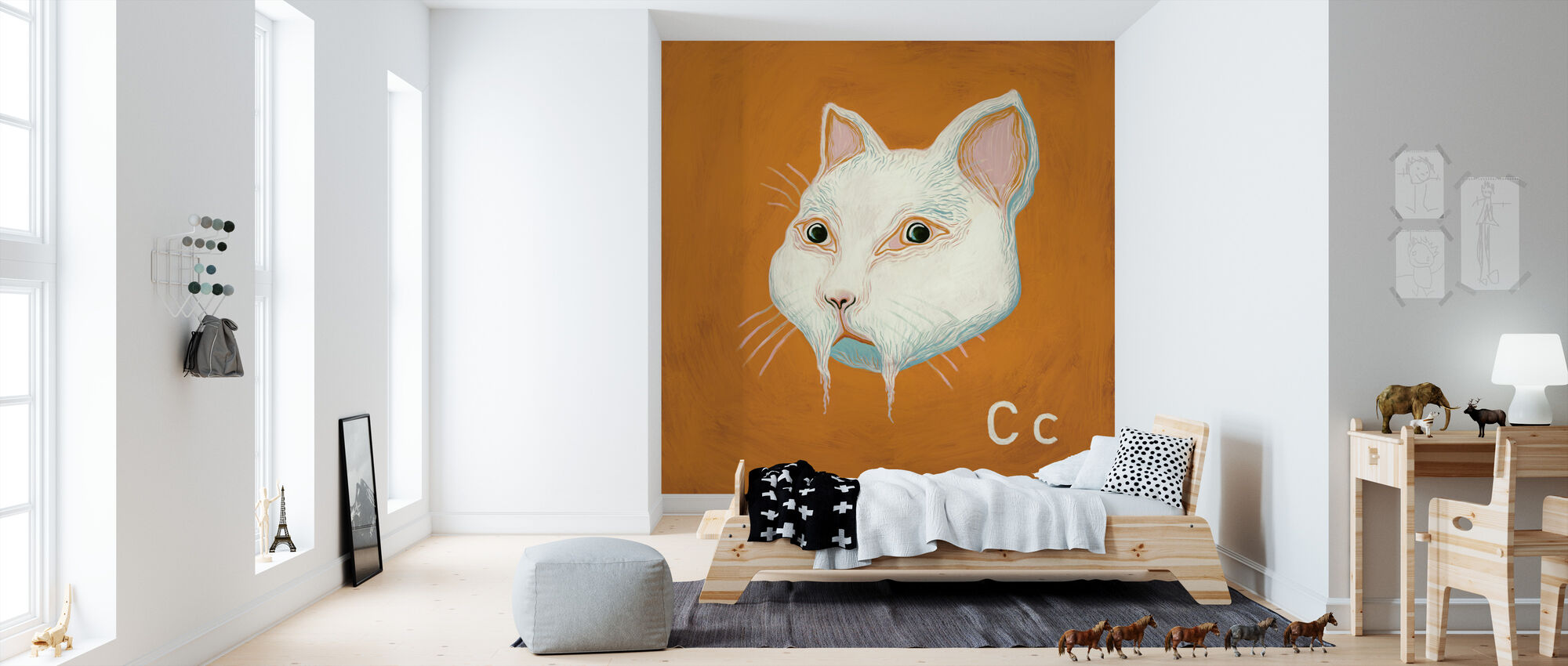 Cat with C - Wallpaper - Kids Room