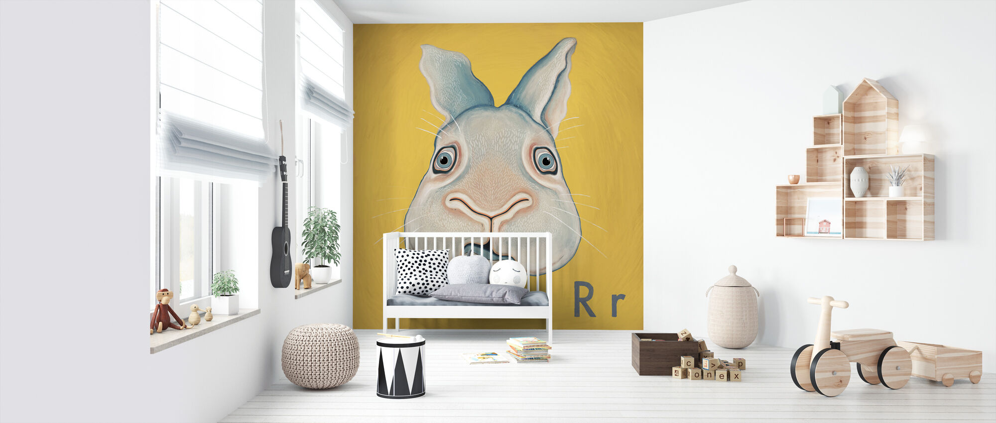 Rabbit with R - Wallpaper - Nursery