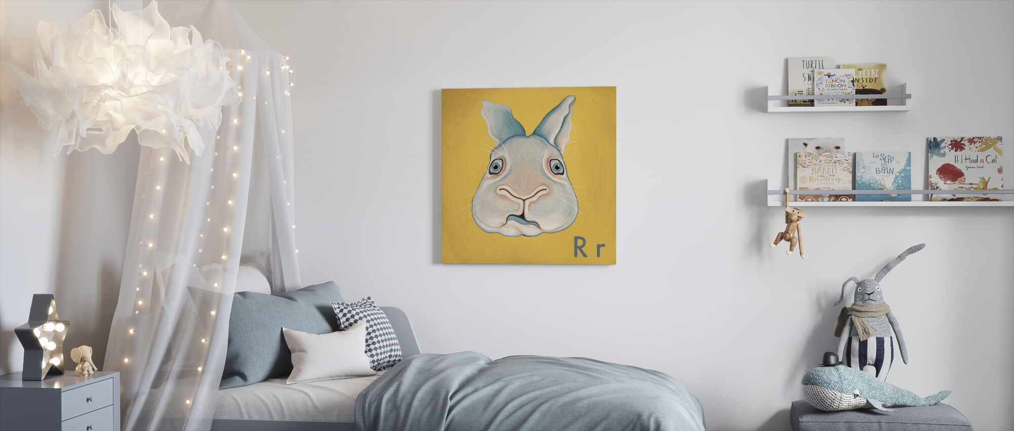 Rabbit with R - Canvas print - Kids Room