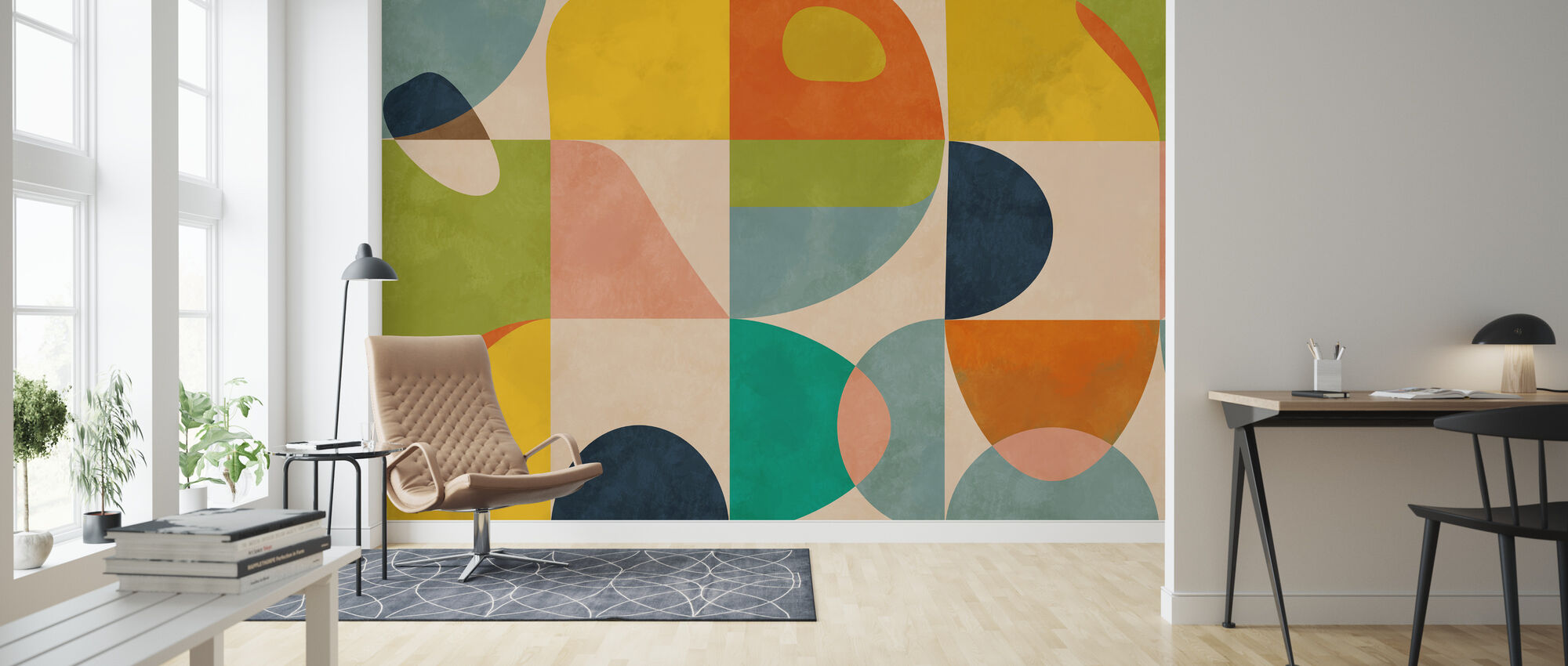 Circles Mid Century IIII - Wallpaper - Living Room