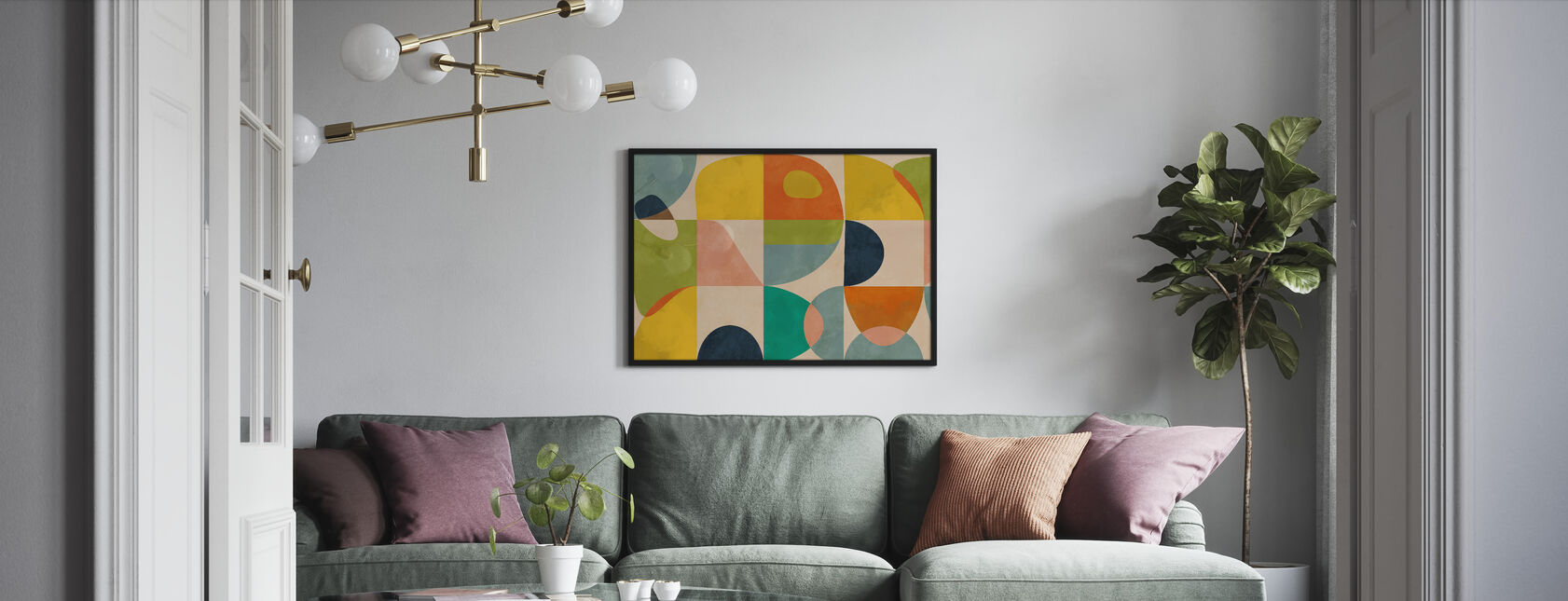 Circles Mid Century IIII - Framed print - Living Room