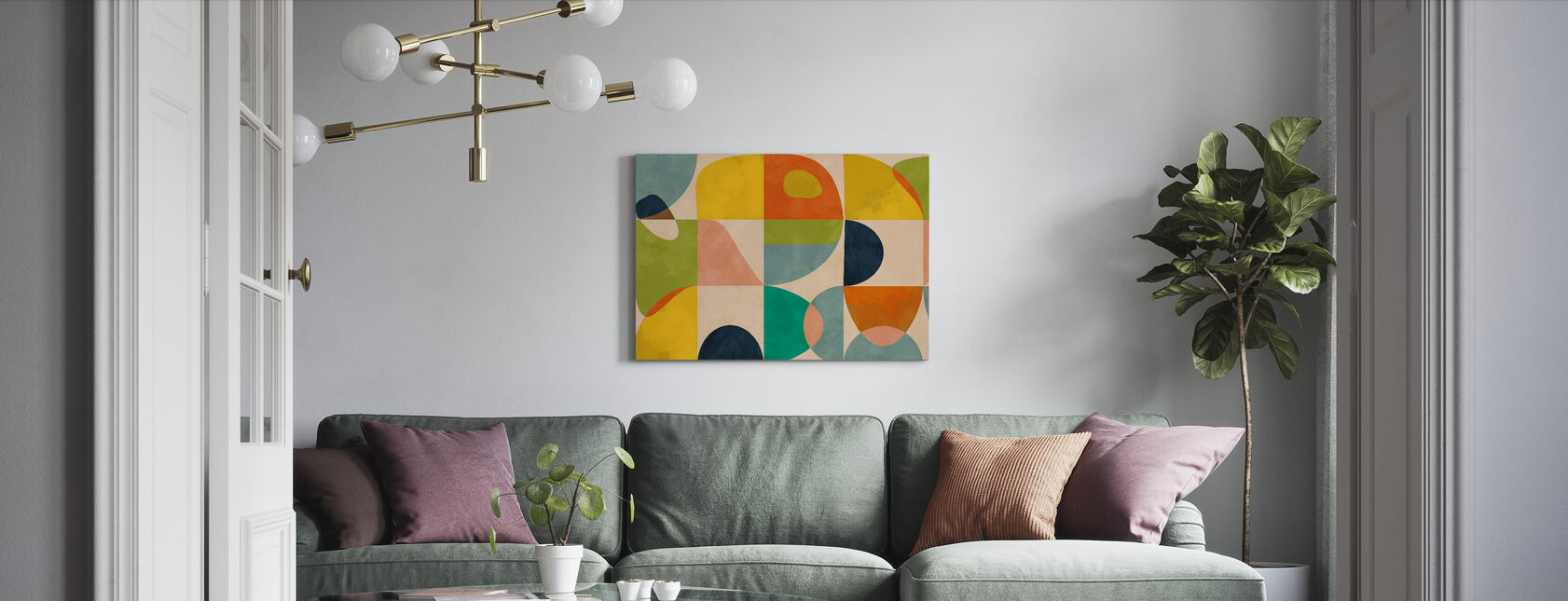 Circles Mid Century IIII - Canvas print - Living Room