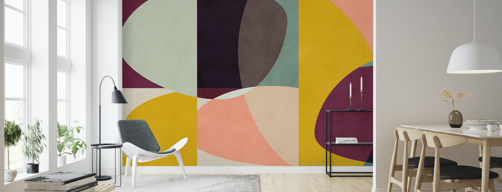 Cercles Mi-Siècle VI - Papier peint - Salle à manger
