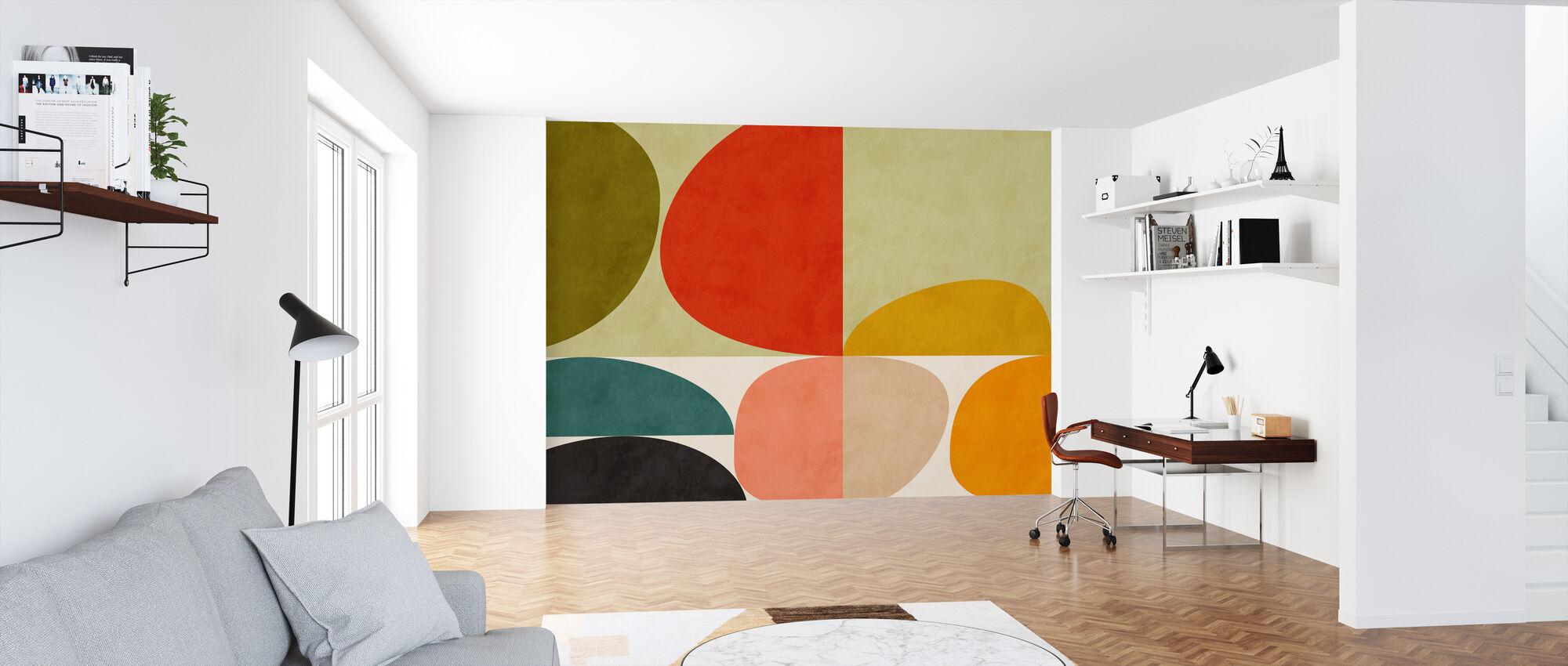 Circles Mid Century VIIII - Wallpaper - Office