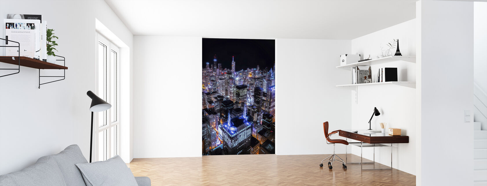 Chicago Night - Wallpaper - Office