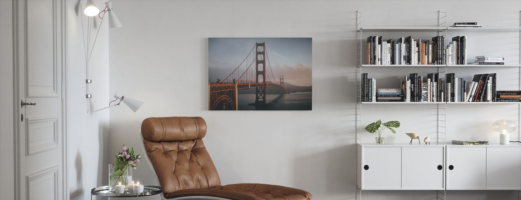 Golden Gate in Fog - Canvas print - Living Room