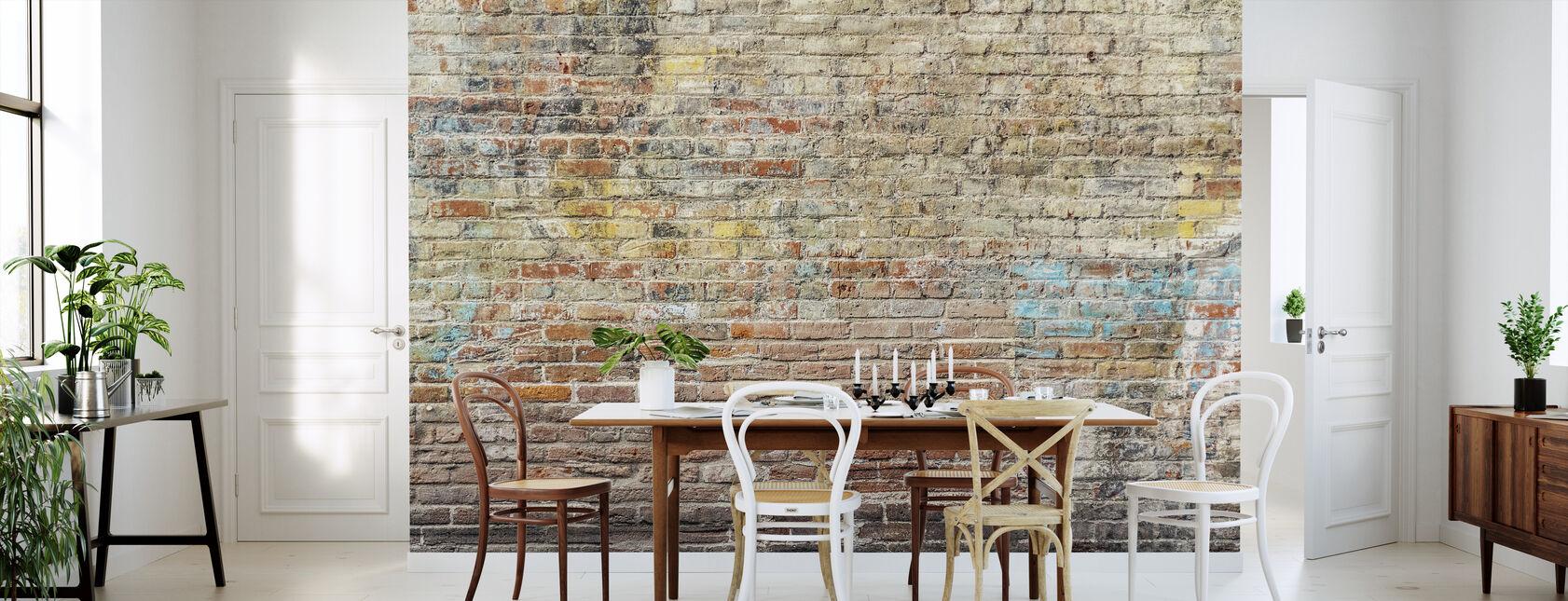 Worn Graffiti Brick Wall - Wallpaper - Kitchen