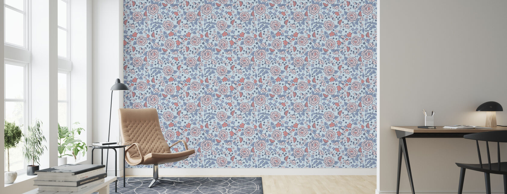 Walnut Grove Blue - Wallpaper - Living Room