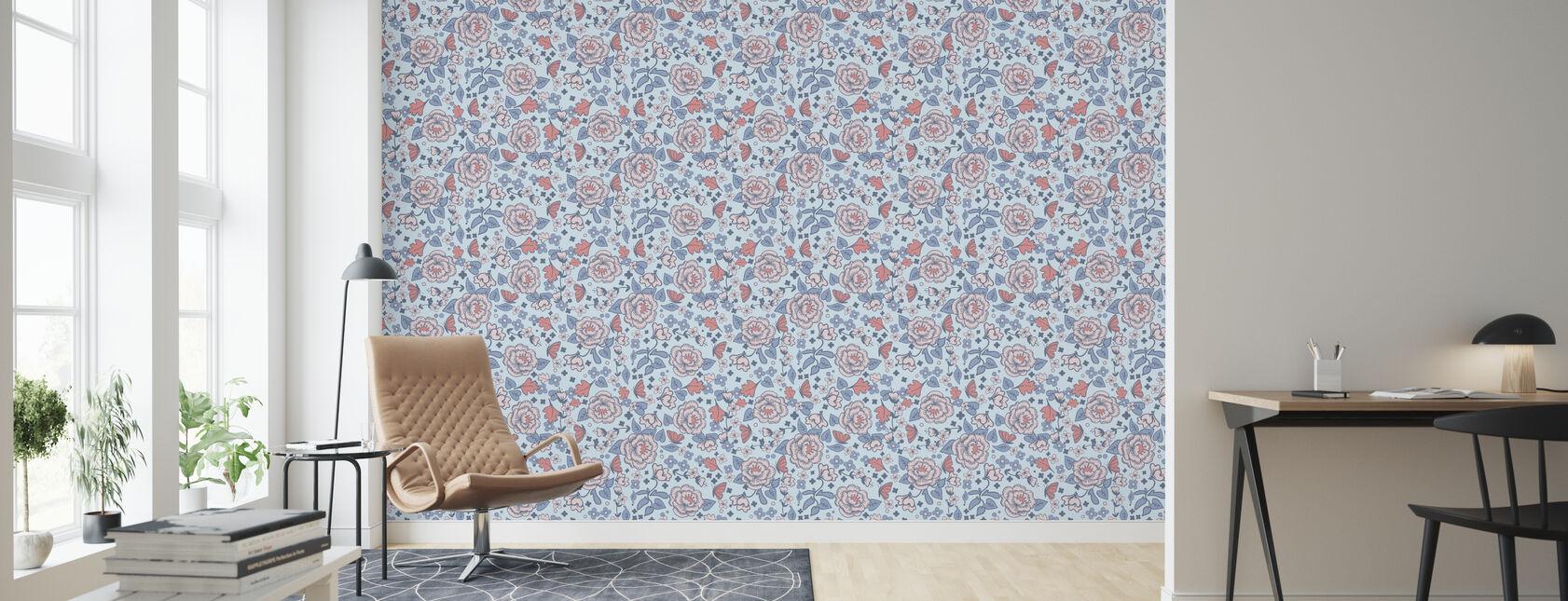 Walnut Grove Blue - Wallpaper - Living Room