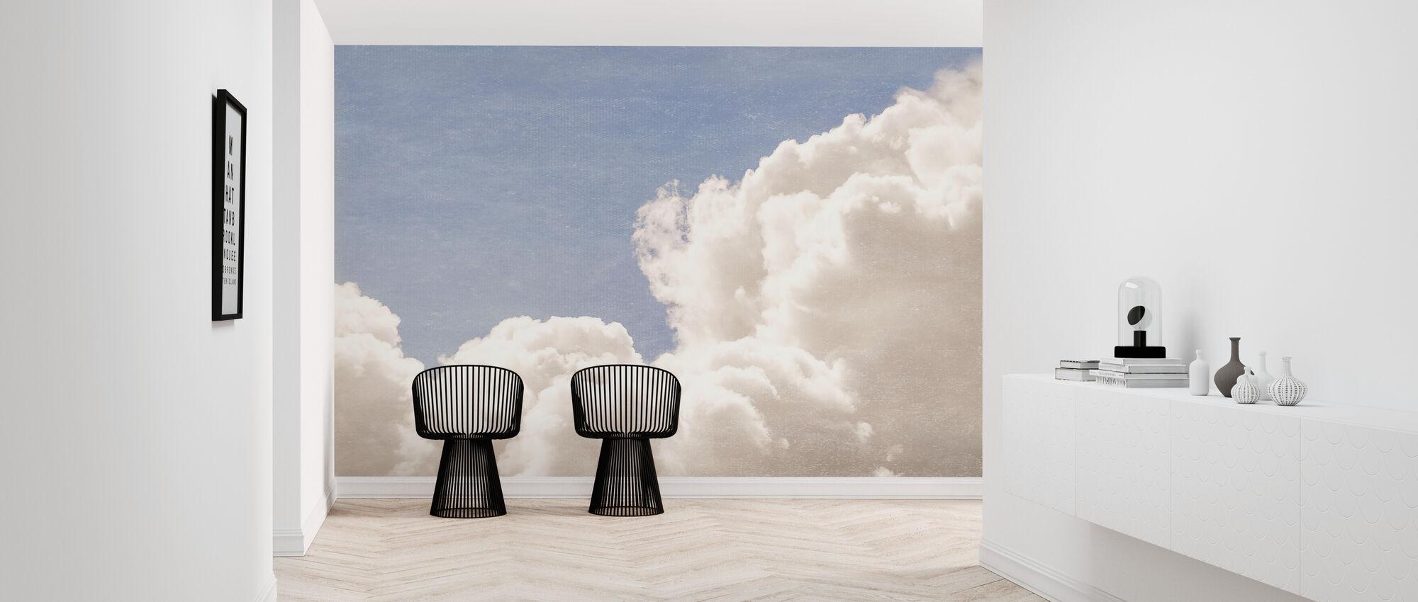 Blush Clouds Blue Daydream - Blue - Wallpaper - Hallway