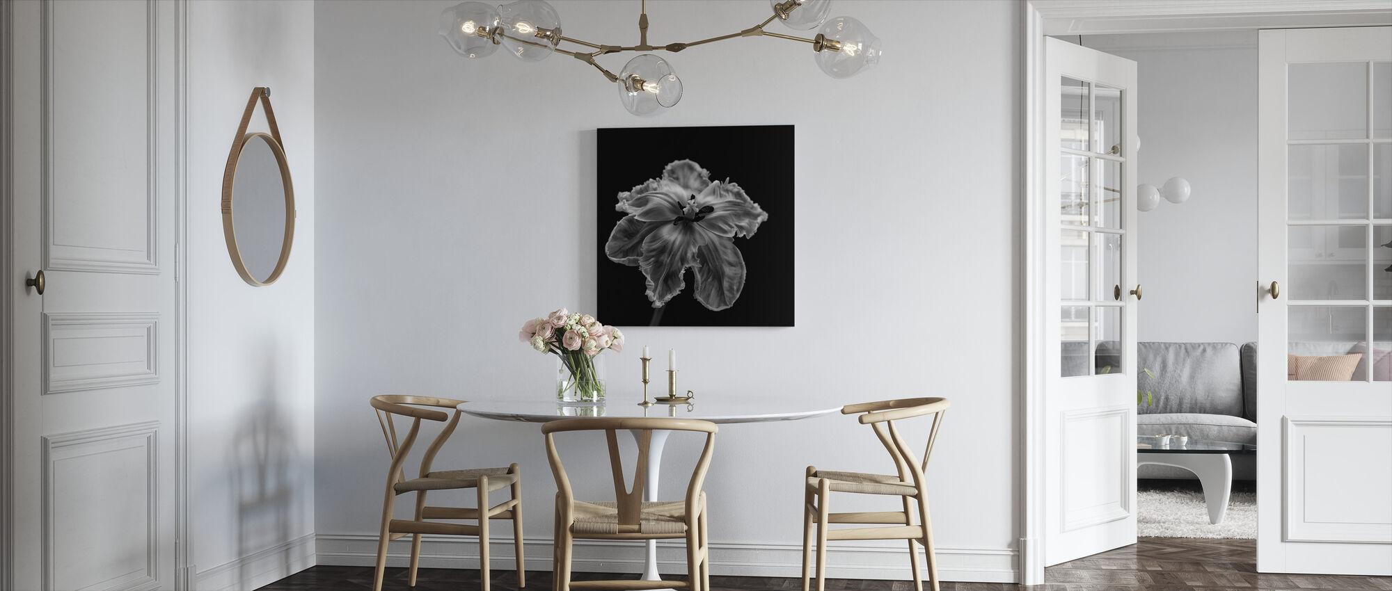Black and White Parrot Tulip - Canvas print - Kitchen