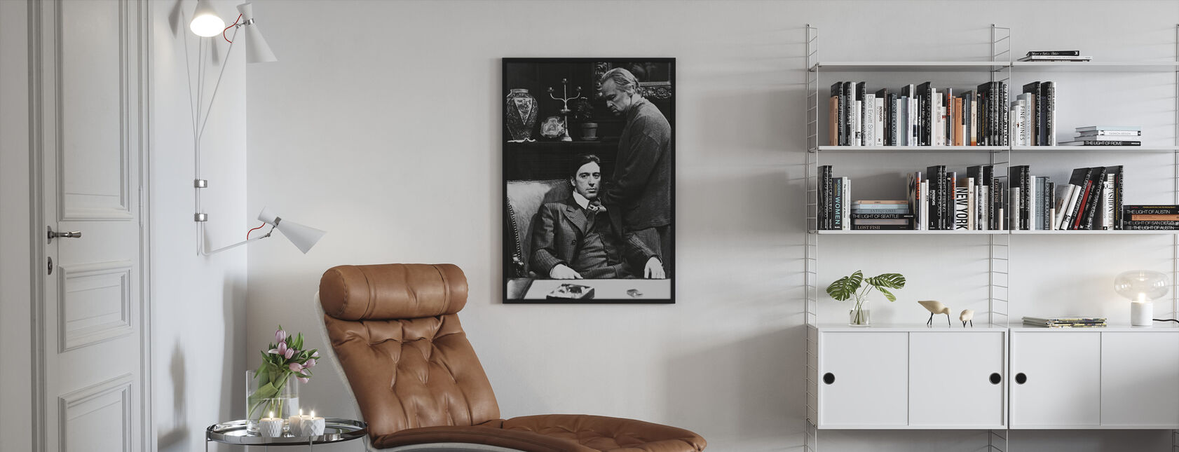 Kummisetä - Al Pacino ja Marlon Brando - Kehystetty kuva - Olohuone